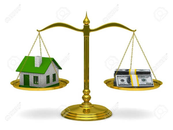 House-and-money-on-scales-Isolated-3D-image-Stock-Photo-balance